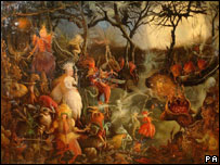 A forged painting called Going to the Masked Ball, in the style of John Anster Fitzgerald,