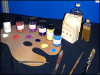 Paints on display at the exhibition