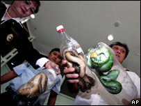 Filipino authorities show the snakes hidden in plastic bottles