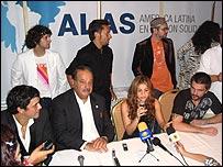 Alejandro Sanz, Carlos Slim, Shakira y Juanes