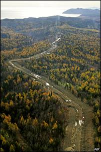 Трасса нефтепровода на Сахалине