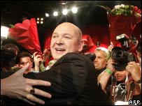 Socialist Party leader Jan Marijnissen celebrates his party's success