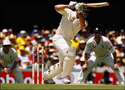 Matthew Hayden plays an off-drive