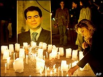Candles for Pierre Gemayel in Beirut