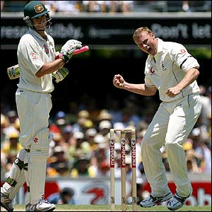 Andrew Flintoff claims the wicket of Matthew Hayden