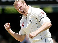 Andrew Flintoff takes a wicket