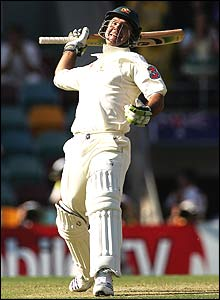 Ricky Ponting reaches three figures during the opening day's play