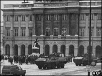 Armoured vehicles on the streets of Warsaw in December 1981
