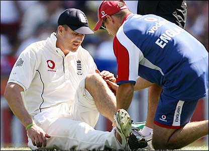 Pietersen receives treatment from the team physio