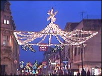 Former display of Christmas lights in Northgate Street, Gloucester