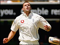 Stephen Harmison in action on the first day of the first Test