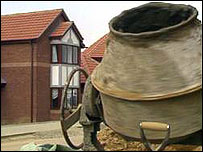House with cement mixer outside