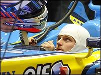 Heikki Kovalainen in his Renault car