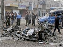 Scene of the blast in Kamaliya, eastern Baghdad