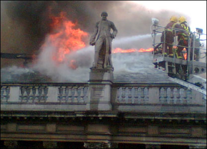 Fire at the Royal Academy of the Arts building - pic by Lena Lachmann-Morck