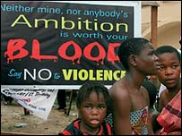 """Poster urging Nigerians to """"say no to violence"""""""