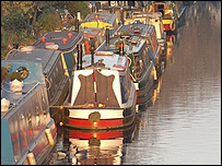 Canal boats at moorings