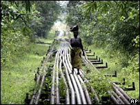 A woman walks along oil pipelines in the Niger Delta