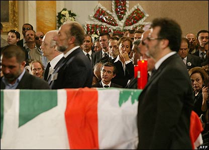 Funeral service held inside St George Cathedral, Beirut