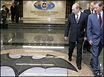 Vladimir Putin tours a new intelligence HQ in Moscow
