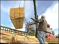 Planks being unloaded