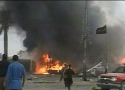 Fire in the aftermath of the Sadr City blasts