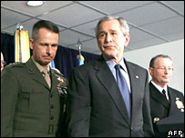 US President George W Bush (centre) with defence officials
