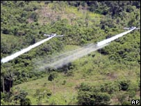 Planes spraying coca fields in San Miguel, Ecuador