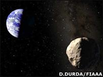 Recreaci�n del asteroide Apofis (Dan Durda/FIAAA)