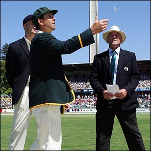 Australian skipper Ricky Ponting tosses the coin
