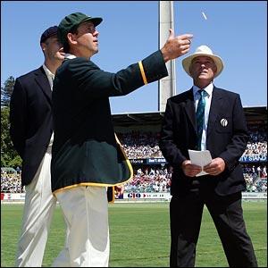 Australian skipper Ricky Ponting tosses the coin