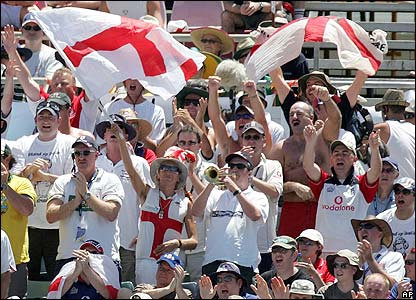 The Barmy Army offer their support