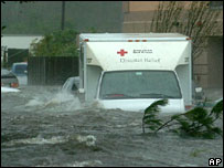 A Red Cross lorry deep in floodwater in New Orleans, following Hurricane Katrina