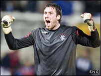 Goalkeeper Allan McGregor celebrates Rangers' victory