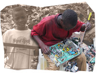 Child in front of an electronic waste pile and Man dismantling broken parts in Nigeria. Photos Copyright Basel Action Network.