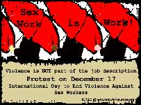 ICRSW postcard promoting End Violence Against Sex Workers Day on 17 December