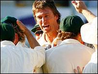 Glenn McGrath celebrates a wicket