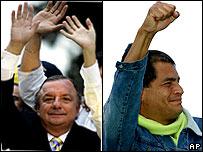 Alvaro Noboa (left) and Rafael Correa