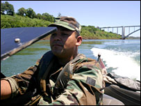 A Paraguayan military patrol on the Parana River