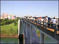 The Friendship Bridge across the Parana River between Paraguay and Brazil