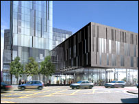Artist's impression of base of Beetham Tower, Manchester