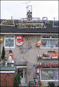 Christmas decorations on the house during the daytime