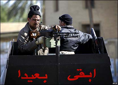 Security forces at checkpoint in Baghdad
