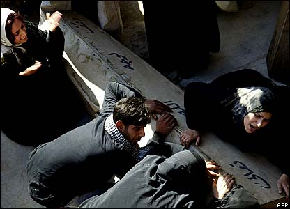 Mourners with a coffin in Najaf