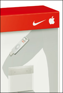Close up of iPod Sport box, Apple