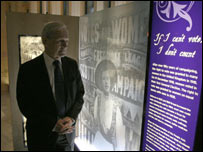 Presiding Officer George Reid with exhibition piece