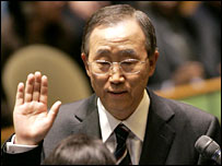 Ban Ki-moon takes the oath of office