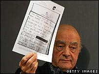 Mohamed Al Fayed at news conference