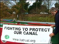 Protest banner on a barge