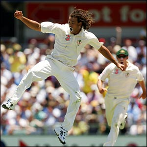 Andrew Symonds shows his joy at picking up the captain's wicket